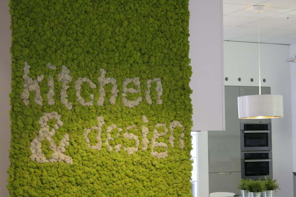 Texto escrito en la pared con plantas